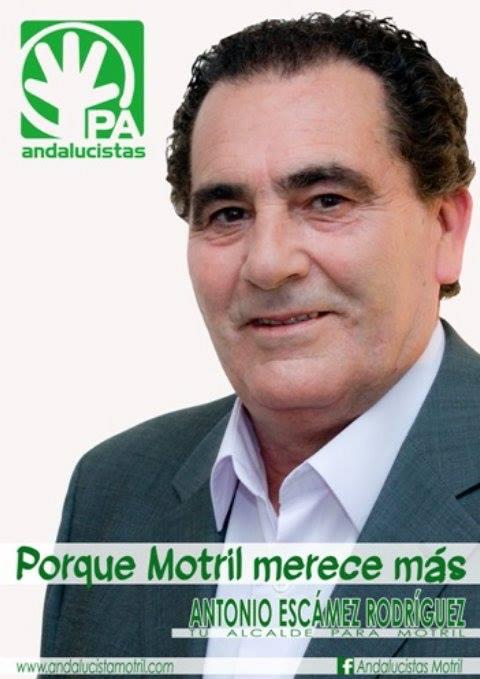 CARTEL OFICIAL DEL PARTIDO ANDALUCISTA PARA LAS MUNICIPALES CON EL CANDIDATO A LA ALCALDÍA, ANTONIO ESCÁMEZ (Foto: El Faro)