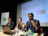 Los delegados de territoriales de Economía y de Cultura de la Junta de Andalucía, Juan José Martín Arcos y Guillermo Quero, en las jornadas Networking de Cultura (Foto: El Faro)
