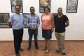 AUTORIDADES DE ALBONDÓN Y MANCOMUNIDAD EN LA EXPOSICIÓN (Foto: El Faro)