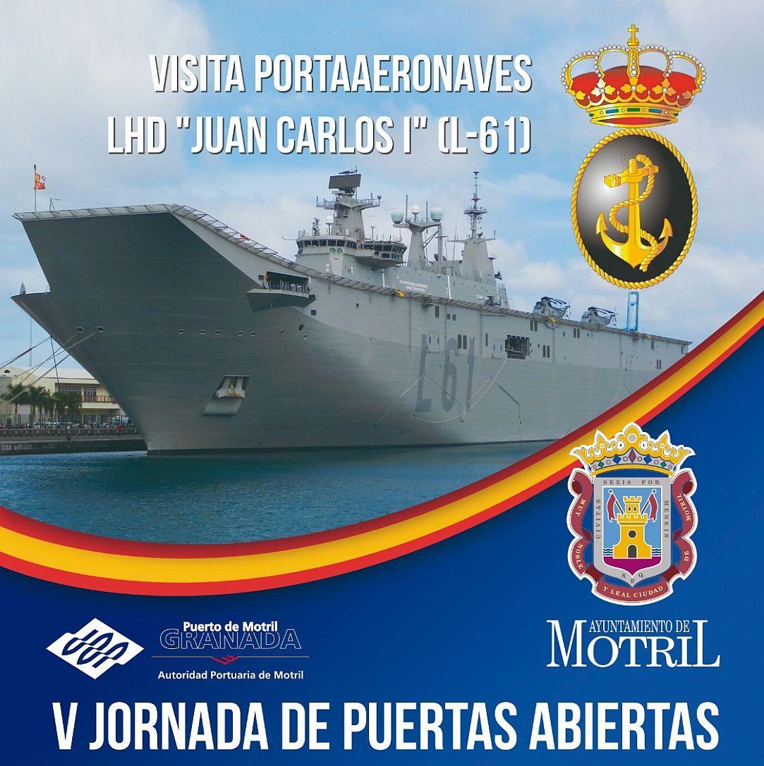 Cartel llegada visita Juan Carlos I