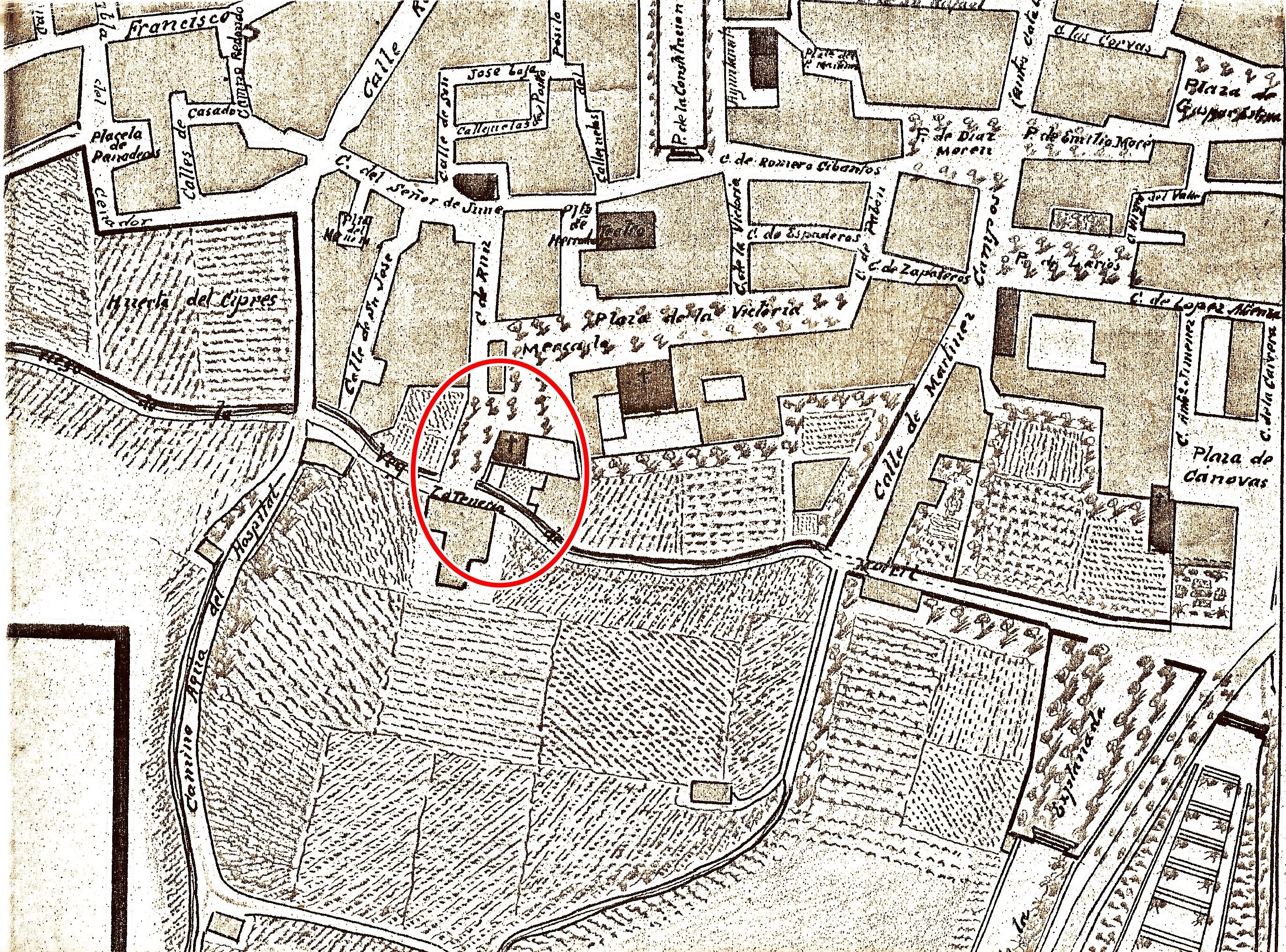 Lugar donde estuvo el baño musulmán de Motril. Plano de principios del siglo XX