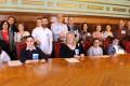 Foto de familia durante la celebración del Día Mundial del Síndrome de Down